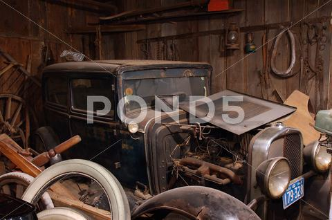 Stock photo of car antiques door dust rust wreck 1930 marquette