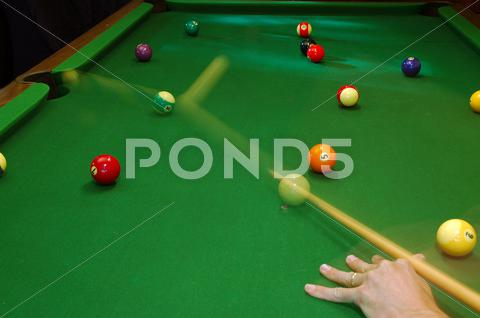 Stock photo of music sport art action ball cue green motion