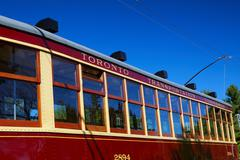 Blue red sky ttc electric streetcar antique Stock Photos