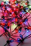 christmas blue decoration glow red jumble lights - stock photo