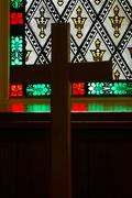 Dark god green passion protestant red window in Stock Photos