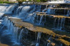 calcit stone flow fresh river spray step trent - stock photo