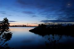 access blue dawn morning park peaceful skyline - stock photo