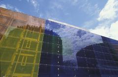 glass fassade living mirror housing estate - stock photo