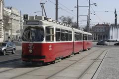 tram place rail traffic vienna sterreich austria - stock photo