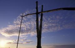 Stock Photo of draw well dusk landmark protected area puszta