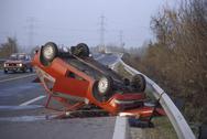 Car water accident danger traffic wreck upside Stock Photos