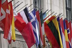 Banner flag hofburg venue flags vienna imperial Stock Photos
