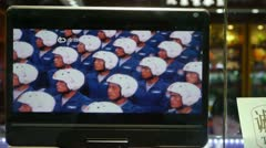 TV in store showcase,China Parade video program. Stock Footage