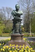 Spring garden monument park zelinka in viennese Stock Photos