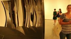 Admiring Anish Kapoor art (5) Stock Footage