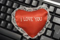 Love heart symbol red dear keyboard affection in Stock Photos