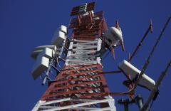 technology antenna broadcast radiation telephone - stock photo