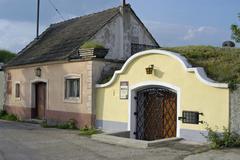 wine lane cellar quarter nieder sterreich - stock photo
