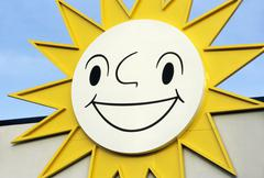 Sun positive symbol thing large yellow laughing Stock Photos