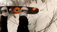 Ski in woods and crash POV Stock Footage