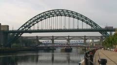 River Tyne Bridges Stock Footage
