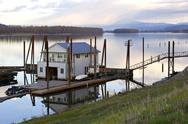 Stock Photo of floating house on the columbia river.