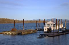 floating house on the columbia river. - stock photo