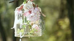 bride with a decorative cage - stock footage