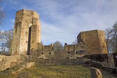 Stock Photo of castle, abbey, cloister, monastery, convent, old, ruin, wreckage, sky, blue,