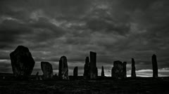 Scary Gothic Standing Stones in storm Stock Footage