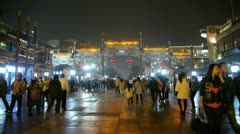 Crowd Walk on Chinatown,China Beijing night market,Neon ancient shop. Stock Footage