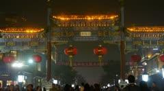 Crowd Walk on Chinatown,China Beijing night market,Neon ancient shop. Stock Footage