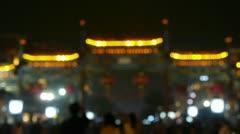 Crowd Walk on Chinatown,blur China Beijing night market,Neon ancient shop. Stock Footage