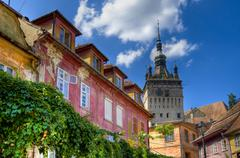 medieval city of sighisoara - stock photo