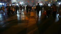 Timelapse crowd walk on Chinatown,China Beijing night market,Neon ancient shop. Stock Footage