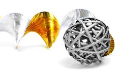 silver ball and golden and silver garland - stock photo
