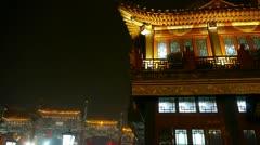Timelapse crowd walk on China Beijing night market,retro ancient shop. Stock Footage