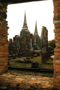 Buddha status and temple in ayutthaya historical park Stock Photos