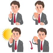 businessman gesturing with thumbs up and down - stock illustration