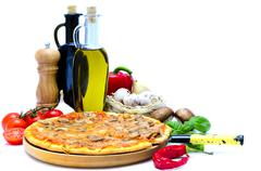 Pizza and ingredients Stock Photos