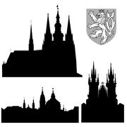 famous landmarks of prague - vector - stock illustration