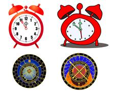 Various clock and astronomical clock - vector Stock Illustration