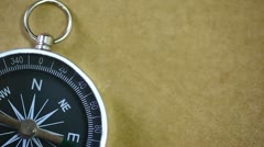 Black compass pointing north. Stock Footage