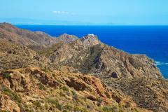 Andalusia coastal landscape. parque cabo de gata, almeria. Stock Photos