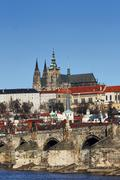 hradcany - cathedral of st vitus and charles bridge - stock photo