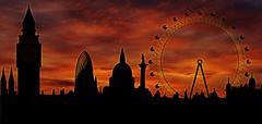 london skyline at dusk - stock illustration