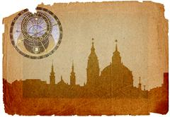 st nikolas church in grunge style - stock illustration