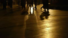 Timelapse busy crowd foot walking & inverted image on ground at night. Stock Footage