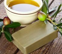 Aleppo soap and olives Stock Photos