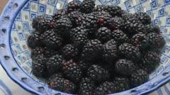 Blackberries in Blue Bowl Stock Footage