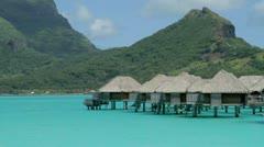 Bora Bora Bungalos Stock Footage