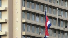 A Costa Rican flag waves gently in the breeze Stock Footage