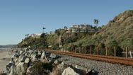 Stock Video Footage of Passenger Train on California coastline