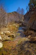 calm flowing creek through valley - stock photo